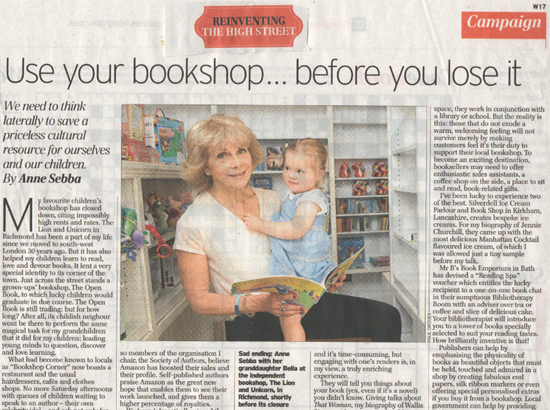 Use your bookshop… Before you lose it