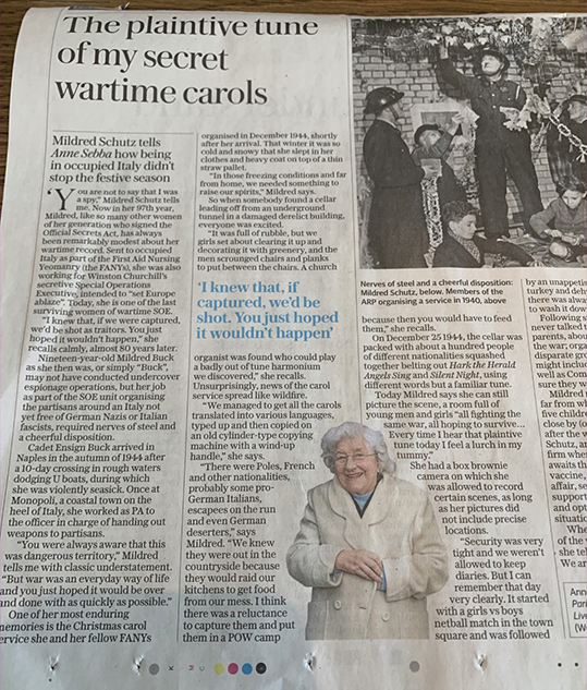 Mildred Schutz, one of the last women of wartime SOE, remembers Christmas 1944